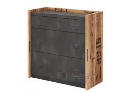 DRAKE 06, komoda se 3-mi zásuvkami, smrk canyon alpine / steel