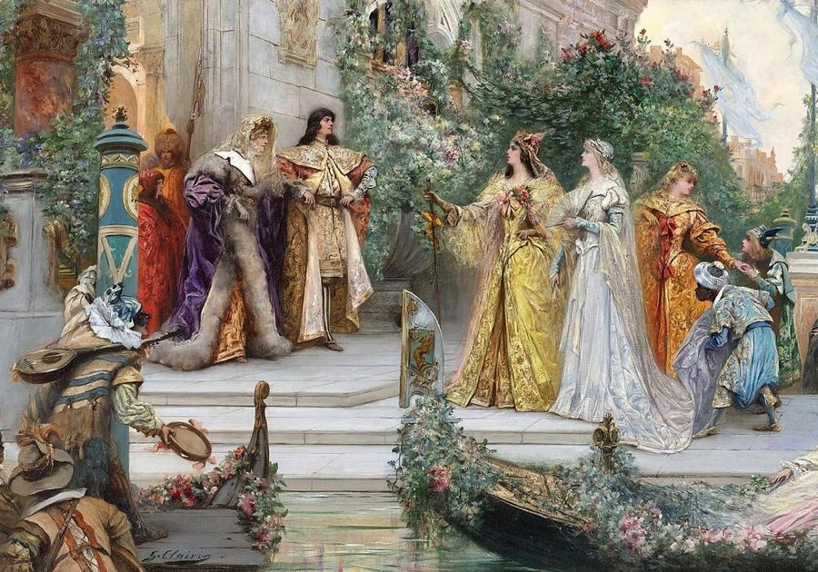 Slavné obrazy V-1 Georges Jules Victor Clairin - Příchod hostů v Benátkách