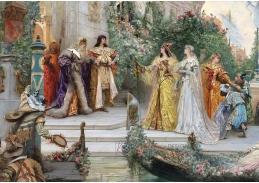 Slavné obrazy V-1 George Clairin - Příchod hostů v Benátkách