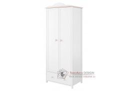 POLONA 01, šatní skříň 2-dveřová, bílá / růžová