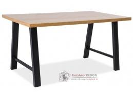 ABRAMO, jídelní stůl 180x90cm, černá / masiv dub