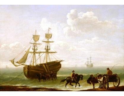VANG238 Julius Caesar Ibbetson - Vykládka lodí u břehu na vůz