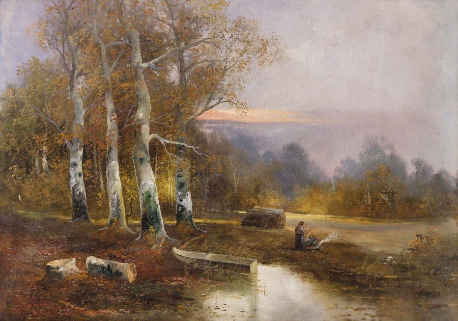 DDSO-1472 Adolf Kaufmann - Podzimní lesní krajina se dvěma ženami