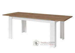 SALIXY 09, jídelní stůl rozkládací, bílá / dub lefkas tmavý