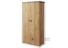 SOMAS 02, šatní skříň 100cm 2D, bílá / ořech natural