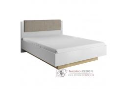 CITY, postel 160x200cm s ÚP, bílá / dub grandson / bílý lesk / látka šedo-hnědá taupe