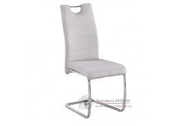 ABIRA NEW, jídelní židle, chrom / látka krémová
