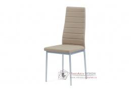 DCL-117 CAP, jídelní židle, šedý lak / ekokůže cappuccino
