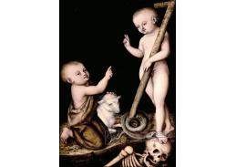 Krásné obrazy II-348 Lucas Cranach - Klanění se Ježíše svatému Janu Křtiteli