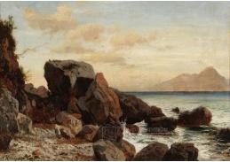 D-5561 Alois Kirnig - Skalnaté pobřeží na Capri s výhledem na Vesuv