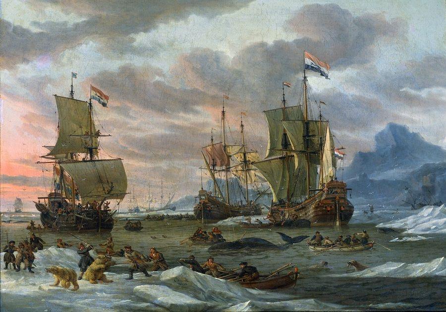 VL1 Abraham Storck - Holandští velrybáři u skalnatého pobřeží