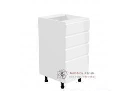 AURORA, dolní kuchyňská skříňka D40S4, bílá / bílý lesk