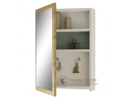 HILO, zrcadlová skříňka, bílá / dub wotan