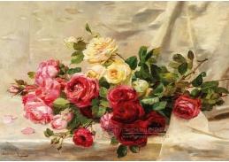A-1317 Dominique-Hubert Rozier - Kytice růží ležící na damaškové látce