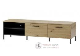 LUCAS 25, televizní stolek, dub artisan / černá