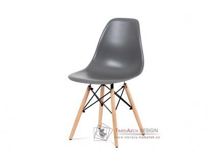 CT-758 GREY, jídelní židle, buk / plast šedý