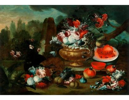 Slavné obrazy IX DDSO-964 Neznámý autor - Zátiší s květinami a vodním melounem