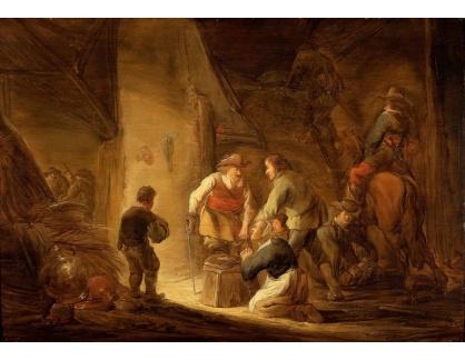 Slavné obrazy XVI-306 Benjamin Gerritsz Cuyp - Loupežníci plenící hospodářský dvůr