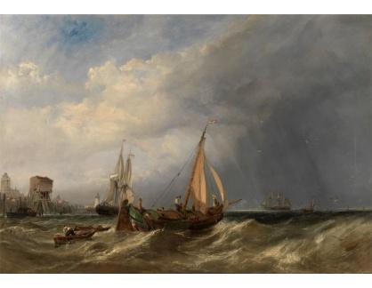 Slavné obrazy XVI-401 Clarkson Stanfield - Holandské člun a obchodní lodě u Rotterdamu