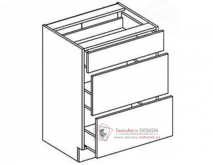Dolní skříňka se zásuvkami D60S3 NORA hruška