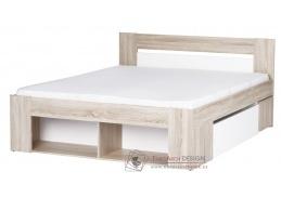 MILO, postel s ÚP a nočními stolky 140x200cm, dub sonoma / bílá
