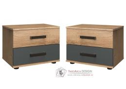 LOMAZA 698, noční stolek - sada 2ks, dubové prkna / šedá grafit