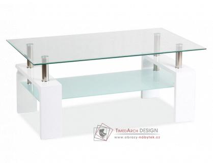LISA BASIC II, konferenční stolek, bílý lak / sklo