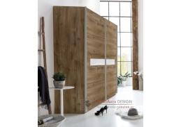 PAMELA 864, šatní skříň posuvnými dveřmi 225cm, divoký dub
