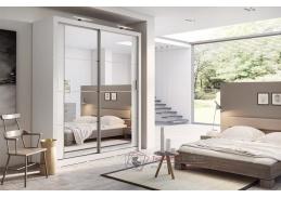 ARTI 03, šatní skříň s posuvnými dveřmi 180cm, bílá / zrcadla
