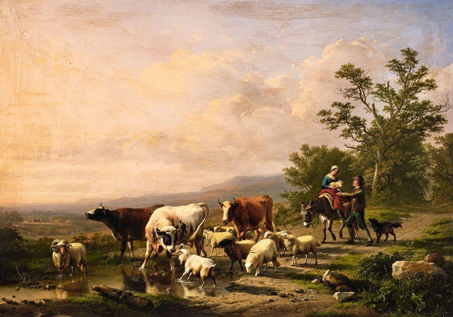 Krásné obrazy I-107 Eugene Verboeckhoven - Panoramatická krajina s pastýři a jejich stádem
