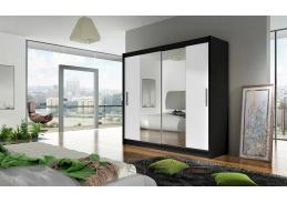 BEGGA II, šatní skříň s posuvnými dveřmi 180cm, černá / bílá / zrcadla