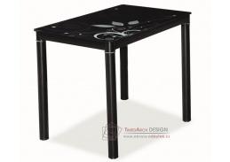 Jídelní stůl 100x60 cm DAMAR černá / černé sklo