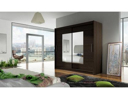 BEGGA VII, šatní skříň s posuvnými dveřmi 180cm, čokoláda / zrcadla