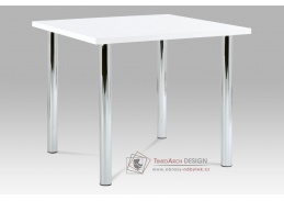 AT-1913B WT, jídelní stůl, chrom / vysoký lesk bílý