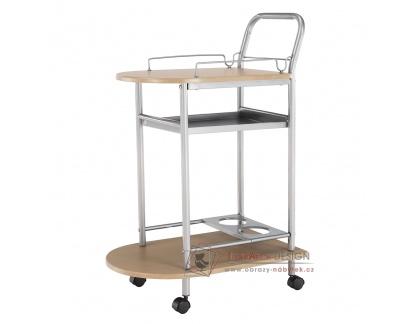 LIMA, servírovací stolek, stříbrná / buk