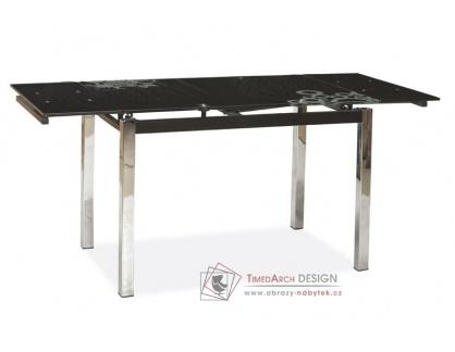 GD-017, jídelní stůl rozkládací, chrom / černé sklo