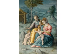 Slavné obrazy XVII-79 Francesco Ubertini - Svatá rodina s dítětem a svatým Janem