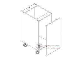ARMOY, dolní koupelnová skříňka 1-dveřová s košem na prádlo D40 s PD, bílá / bílý lesk