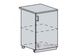 VALERIA, dolní skříňka 1-dveřová 60D1D, bílá / black stripe