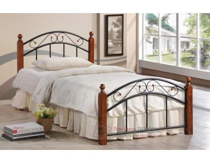 CRETA, kovová postel 90x200cm, černá / třešeň