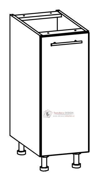 TIFFANY, kuchyňská dolní skříňka T14/D30 bílá / bílý lesk