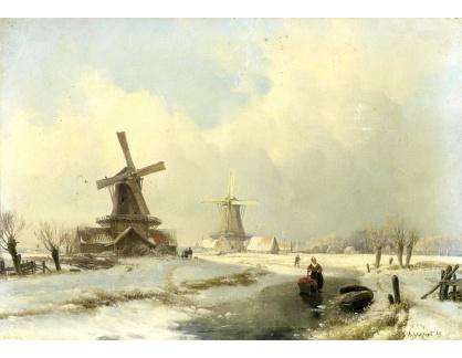 Slavné obrazy XVI-171 Andreas Schelfhout - Zimní krajina s dvěmi větrnými mlýny