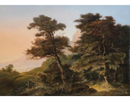 Slavné obrazy XVI-490 Edouard de Vigne - Romantická krajina