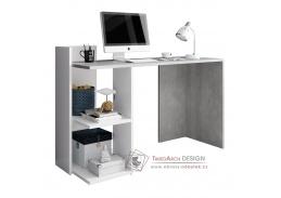 ANDREO, počítačový stůl, bílá / beton
