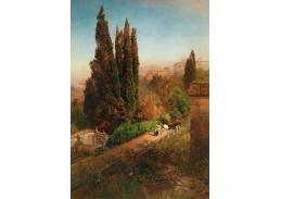 D-6105 Oswald Achenbach - Pohled do zahrady Villa d'Este v Tivoli u Říma