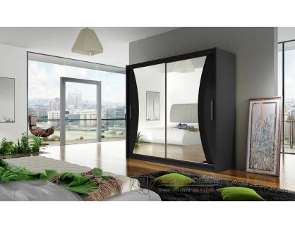 BEGGA V, šatní skříň s posuvnými dveřmi 180cm, černá / zrcadla