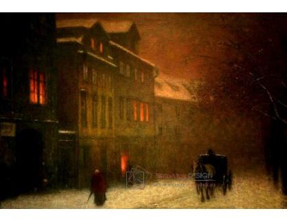 Jakub Schikaneder - Ulice s drožkou v zimním podvečeru II