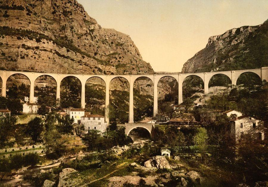 Fotochrom VF 101 Most přes Gorges de Loup v Grasse, Francie