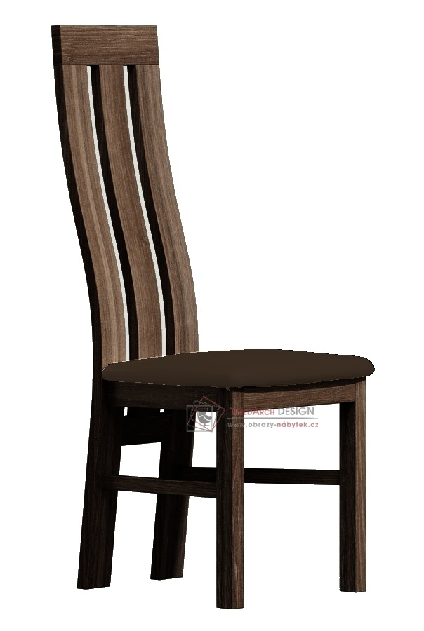 Jídelní čalouněná židle II jasan tmavý / látka tmavě hnědá