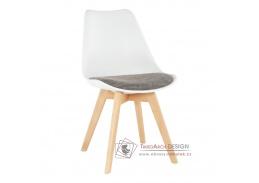 DAMARA, jídelní židle, buk / plast bílý / látka hnědá